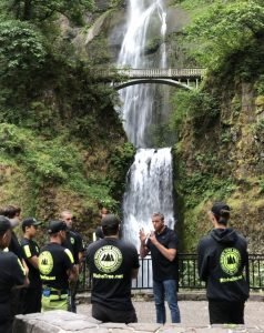 Rich leading his crew before beginning work at Multnomah Falls.